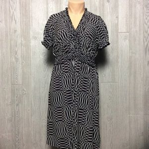 Sweet Brown and White Printed Dress PLUS SIZE 18W